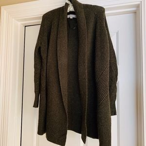 LOFT Petite Dark Olive Rolled Collared Cardigan